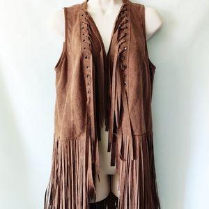 NWT Fringe vest brown faux suede size M